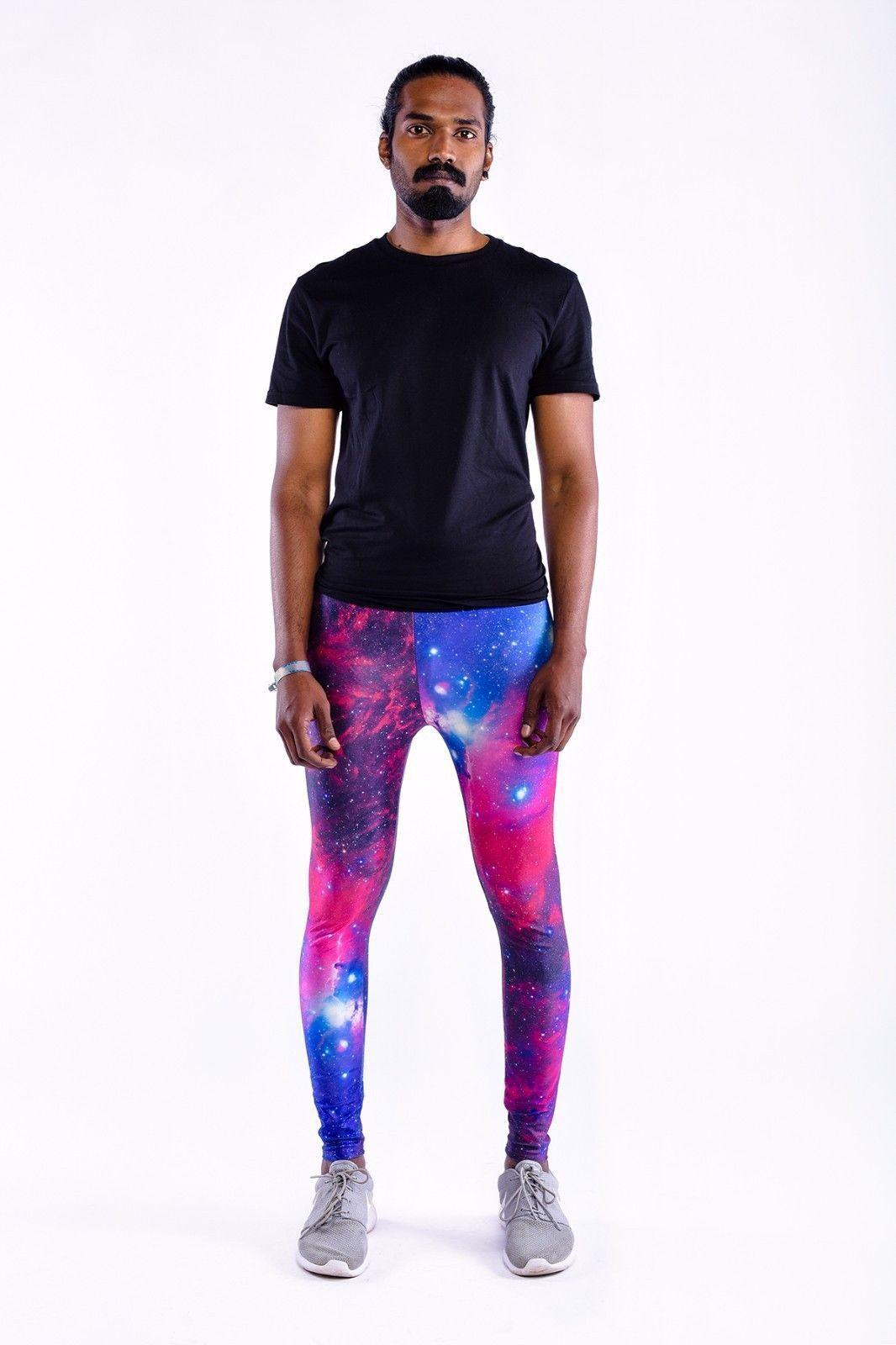 KAPOW Interstellar Meggings // Men's Festival Leggings in Blue Galaxy Print