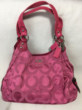 Coach Madison Maggie Solid Pink Op Optic Art Shoulder Hobo Bag Purse 14305 - $99.99