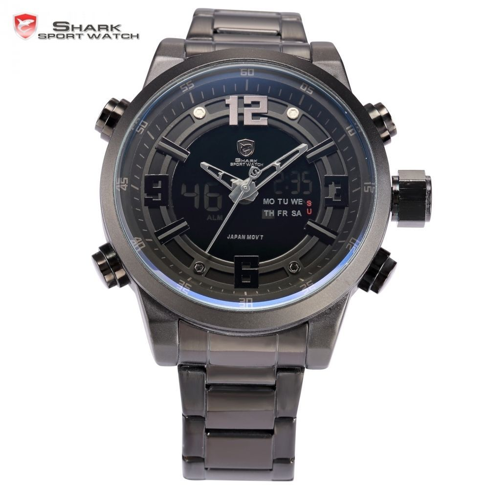 Basking Shark Sport Watch Dual Time Black LCD Date Alarm Steel Band - $54.99