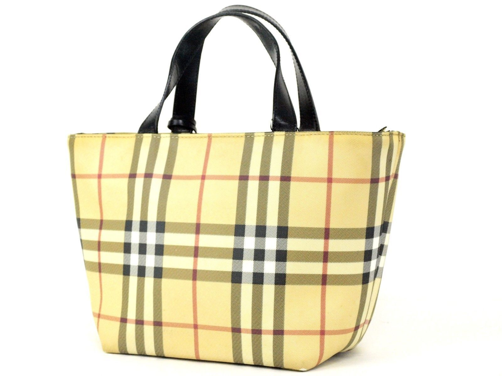 8d640434823 ... Authentic Burberry London Nova Check PVC Canvas   Leather Hand Bag  Italy Vintage ...