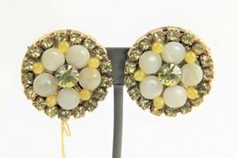 ESTATE VINTAGE Jewelry RETRO HIGH END YELLOW RHINESTONE & WHITE GLASS EA... - $10.00