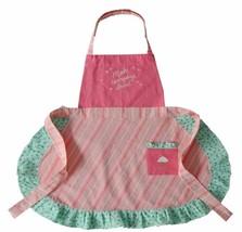 Women OSFM Make Everyday Sweet Pink Green Cupcake Stripe Dot Apron Embro... - $15.99