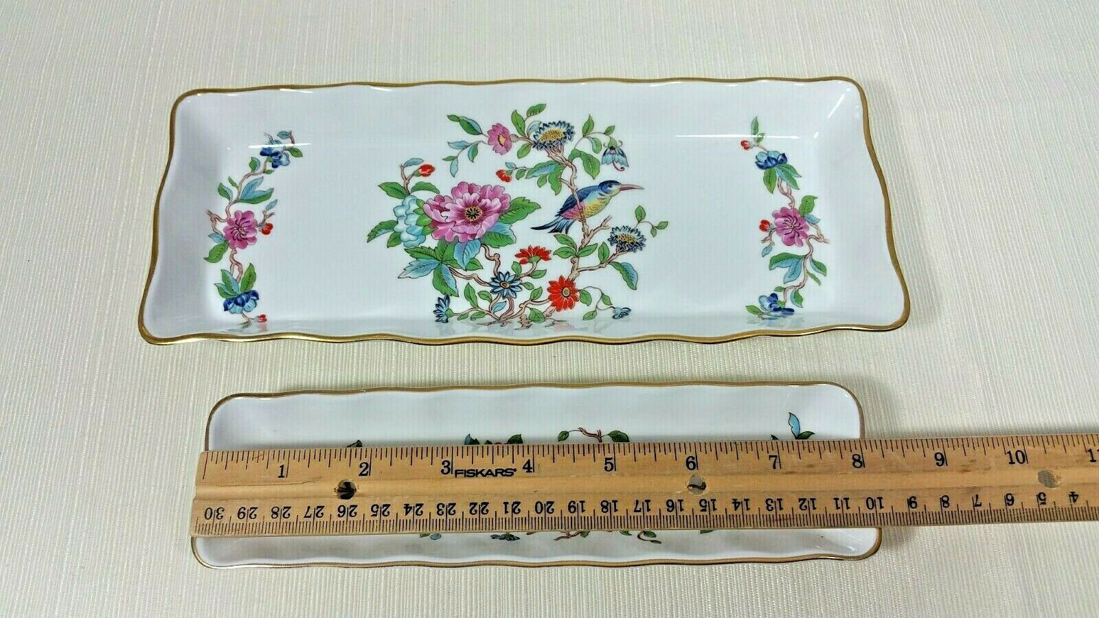 John Aynsley Pembroke Biscuit and Mint Tray Set Bone China Gold Trim 2 Pieces