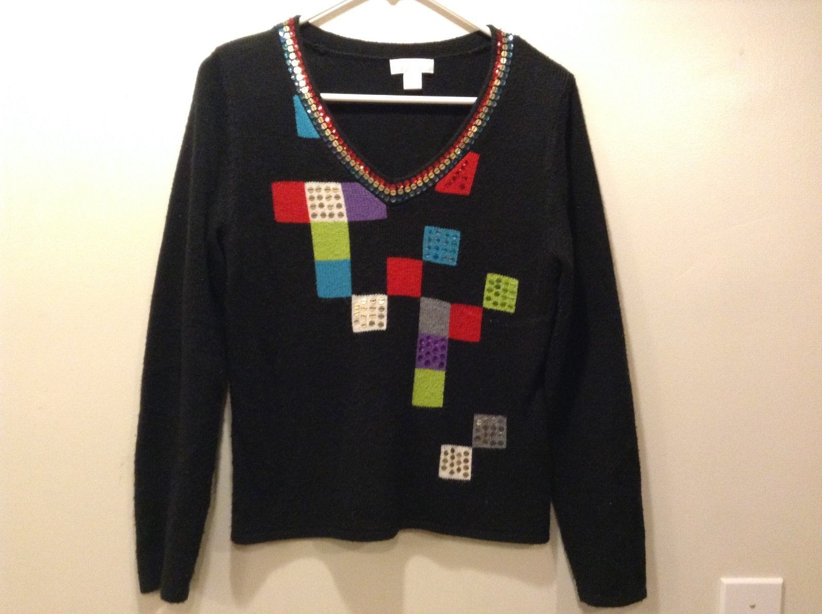 Christopher Banks Women's Black w Multicolor Geometric Design V-Neck Sweater