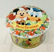 Older Walt Disney Merry Christmas Tin Litho Round  Box Mickey Mouse - $28.22