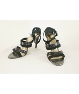Kenneth Cole Sz 9 M Black Snake and Suede Strappy Sandal Heels - Italy - $39.59