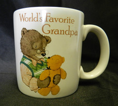 American Greetings Worlds Favorite Grandpa Grandfather Teddy Bear Cup Mug - $24.47