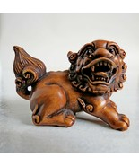 19th-20th century Japanese boxwood Netsuke Foo Dog Signed unknown onyx eye - $425.69