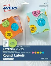 "Avery Labels 4330 Astrobrights Round 1-2/3"" Diameter 240 Labels 5 Colors NIP"