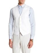 NEW MENS PERRY ELLIS REGULAR FIT LINEN BLEND WHITE DRESS VEST 2X (50 - 52) - $29.69