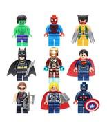 9pc Set Marvel Avengers DC Super Heroes Minifigurines Set - USA SELLER - $15.99