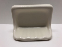Vintage Art-Deco Cream White Ceramic Sink Soap Dish Wall Mount or Lay Do... - $31.14