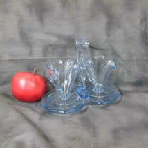 Vintage Blue Glass Deco Creamer, Sugar and Tray, Westmoreland (?) - $44.88