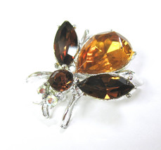 Rhinestone Bee Brooch, Insect Pin, Fly Pin, Bug, Amber Color, Rhinestone... - $18.50