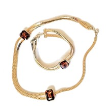 Vintage Gold Plated Chain Necklace with Amber Beads & Matching Bracelet - $24.63