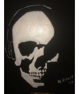 Skull With Headphones 12x12 Original Painting Pop ART!!  Artist Direct - $56.95