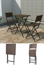Rattan Bar Set Table Stools High Chairs Outdoor Patio Dining Folding 3 S... - $194.54