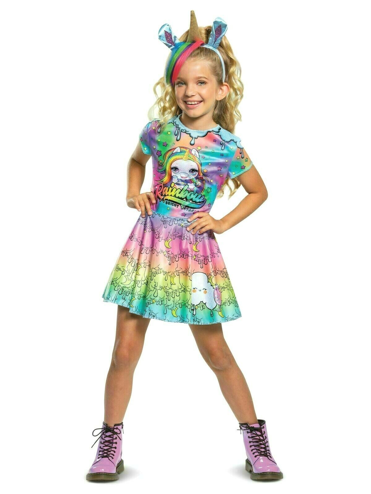 NEW Poopsie Slime Surprise Rainbow Brightstar Costume Dress Girls S 4-6 M 7-8