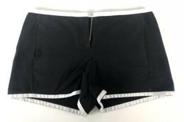 Armani Exchange Womens 0 Small Dress Shorts Black White Textured Stripe Pattern - $9.89