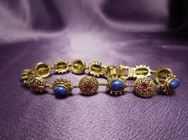 Vintage Gold Tone Red Blue Rhinestone Bracelet Signed ART - $64.35