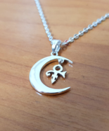 Pendant - Moon Crest Love - Remembrance Symbol - 925 Silver - Handmade - $47.00