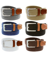 """7001G Men's Fabric Leather Elastic Woven Stretch Belt 1-3/8"""" Wide - $11.83+"""