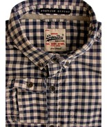 5a44195350 SUPERDRY VINTAGE Shirt Mens 15.5 S Blue & White Gingham Check PREMIER  OX.