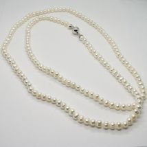 110 cm long necklace in 18k white gold freshwater white pearls made in italy image 5