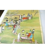 Japanese Asian Scroll Painting on Silk Geisha Wall hanging Signed Large Vintage - $153.42