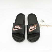 Nike 343881-007 Women's Benassi JDI Slides Sandal Black Rose Gold Size 7... - $29.95
