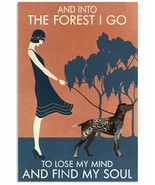 Vintage Girl Forest German Shorthaired Pointer Poster Art Print - Gift F... - $25.59+