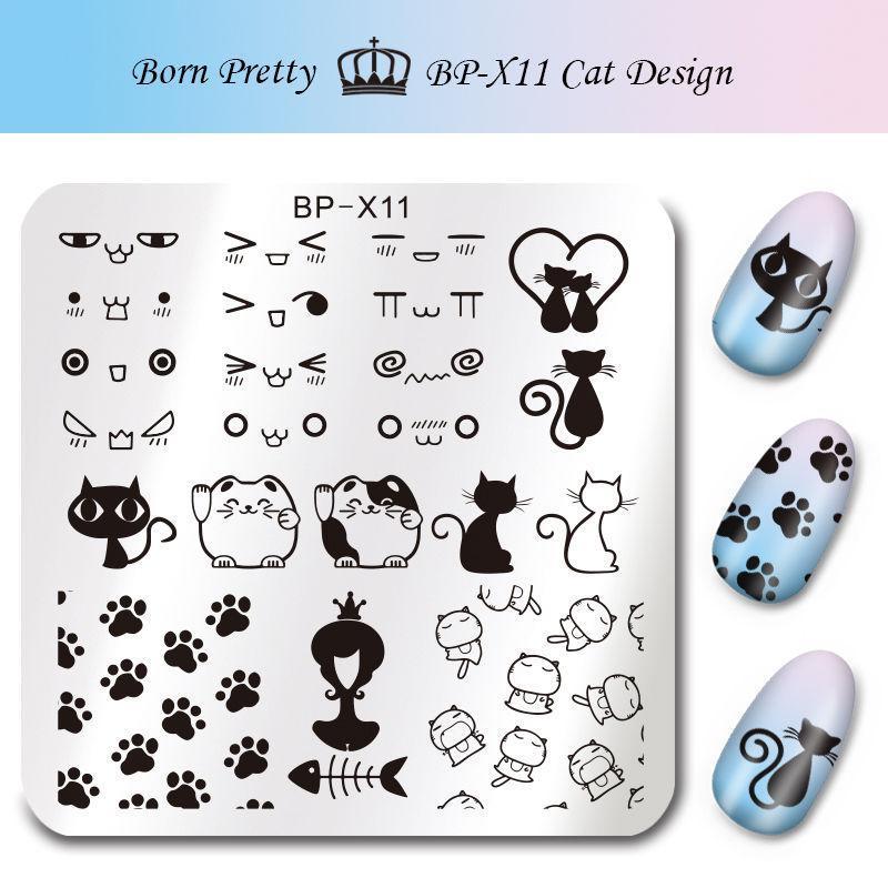 1Pc BORN PRETTY BP-X11 Cat Design Square Nail Art Stamping Template Image Plate