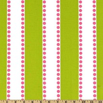 """SAMPLE SALE RUNNER- 30""""long Lime White,with hot pink Dots, Striped Table... - $4.90"""
