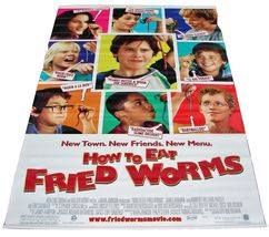 "2006 HOW TO EAT FRIED WORMS Movie Vinyl Theater Banner 48""x70""     (5) - $49.99"