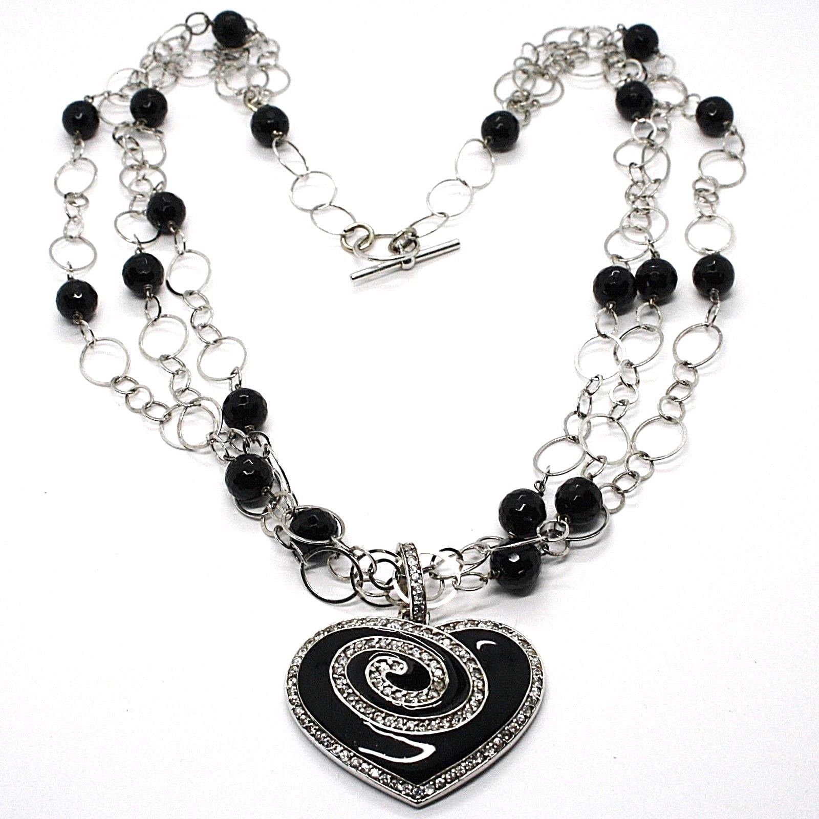 Silver necklace 925, Onyx Black Round, Heart Pendant, Chain three files
