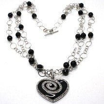 Silver necklace 925, Onyx Black Round, Heart Pendant, Chain three files image 1