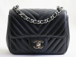 CHANEL Black Sevruga CAVIAR Leather Square MINI CHEVRON Flap Bag AUTHENT... - $3,850.42