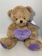 Animal Adventure plush hugs purple heart brown tan Valentine's teddy bear 2016 - $19.79