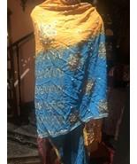 Vintage Orange Turquoise Sequined Sari Scarf Wrap - $51.48