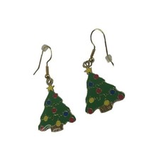 "Klein International Enamel Christmas Tree Pierced Earrings 2"" Dangle  G... - $11.26"
