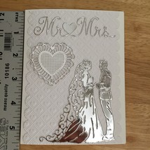 Handmade Greeting Card for Wedding  Mr & Mrs couple and heart - $9.99