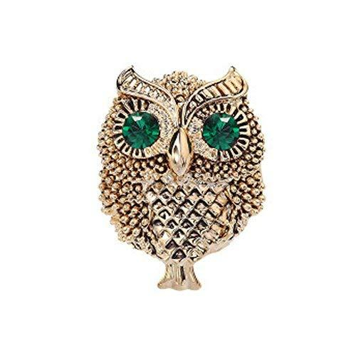 Retro Small Owl Brooches Business Suit Blouse Pins GOLDEN