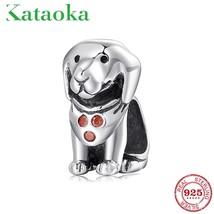 Lovely Pet Labrador Dog charms CZ beads Fit Pandora Charms Bracelet 925 ... - $17.66