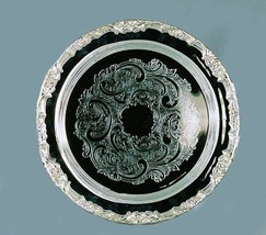"Elegance Silver 89793 Romantica Collection Round Silver Plated Tray, 15"" - £37.18 GBP"