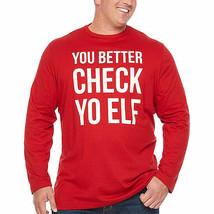 Foundry Men's Big & Tall You Better Check Yo Elf Long sleeve Tee Shirt 2... - $24.74