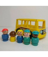 Vintage Fisher Price Mini Bus Little People Yellow 1969 w/ 5 wooden figures - $16.82