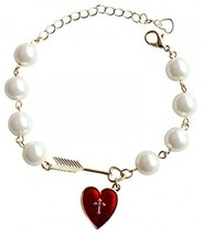 18K Gold Plated 8 Imitation Pearls And Cupid Arrow Red Cross Heart Women - $37.99