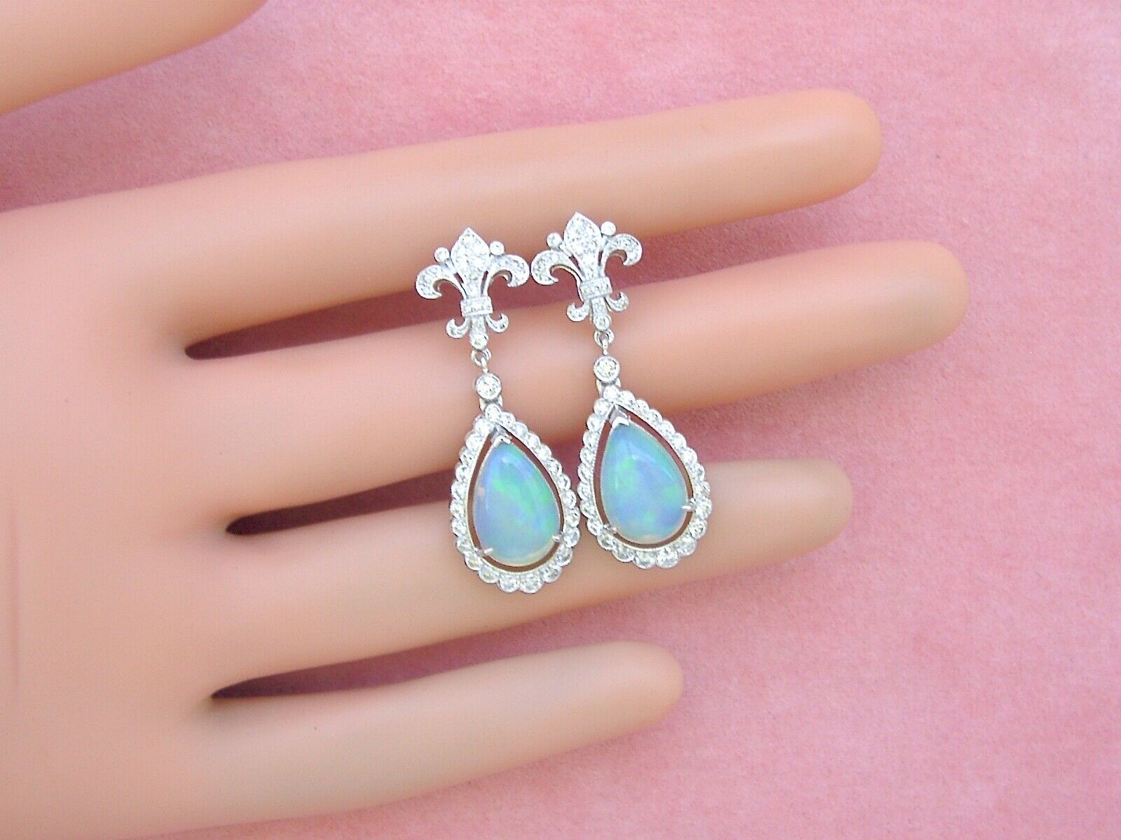 ART DECO 1ctw DIAMOND 3.5ctw OPAL PEAR DROPS FLEUR DE LIS STUD DANGLE EARRINGS