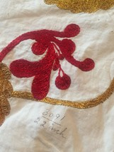"""Vintage 40s Crewel Embroidered Floral 22"""" Square Pillowcase #3091 image 2"""
