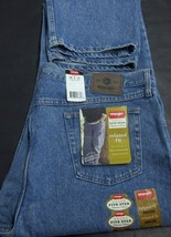 WRANGLER FIVE STAR NWT BLUE JEANS MEN'S RELAXED FIT W46 L32 100% COTTON ... - $22.50